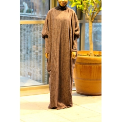 Abaya Papillon Woola Marron Chiné