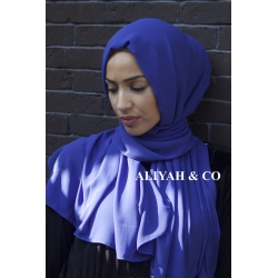Hijab Rectangle Bleu Magenta